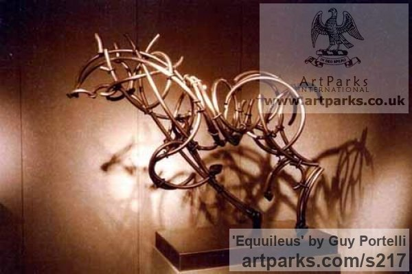 Stainless steel Horse Sculpture / Equines Race Horses Pack HorseCart Horses Plough Horsess sculpture by sculptor Guy Portelli titled: 'Equuileus (stainless Steel abstract Horse sculpture)'