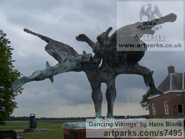 Bronze Garden Or Yard / Outside and Outdoor sculpture by sculptor Hans Blank titled: 'Dancing Vikings (Contemporary Modern Outdoor statues)'