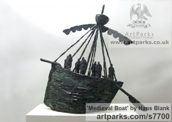 Foundry cast bronze Marine Maritime Water Sea sculpture statuette sculpture by sculptor Hans Blank titled: 'Medieval Boat (Primitive Contemporary Ship statuettes)'
