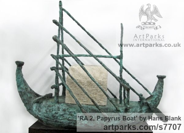 Foundry cast bronze / carved limestone Garden Or Yard / Outside and Outdoor sculpture by sculptor Hans Blank titled: 'RA 2, Papyrus Boat (abstract Reed Boat Ship sculpture)'