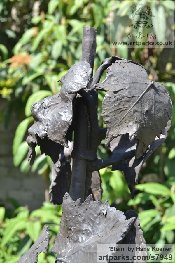 Bronze granite Garden Or Yard / Outside and Outdoor sculpture by sculptor Hans Koenen titled: 'Etain (Bronze nude female in Grapevine, Irish Mythology statue)' - Artwork View 4