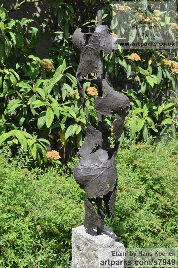 Bronze granite Garden Or Yard / Outside and Outdoor sculpture by sculptor Hans Koenen titled: 'Etain (Bronze nude female in Grapevine, Irish Mythology statue)' - Artwork View 5