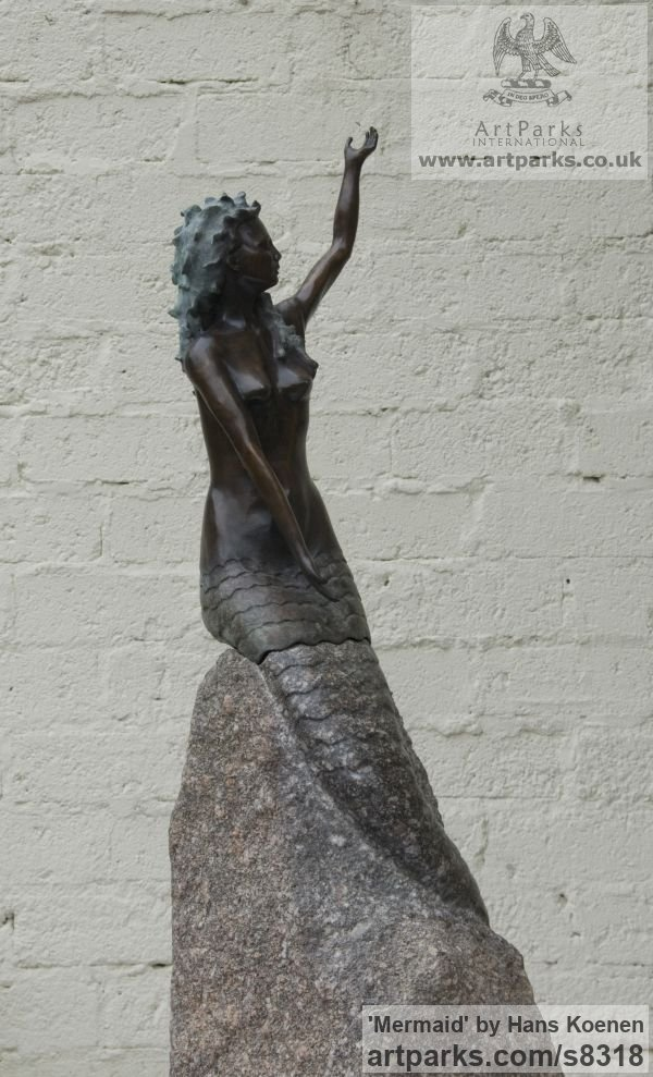 Bronze and stray stone Garden Or Yard / Outside and Outdoor sculpture by sculptor Hans Koenen titled: 'Mermaid (Bronze on stray stone Contemporary Seated Poolside statue)' - Artwork View 5