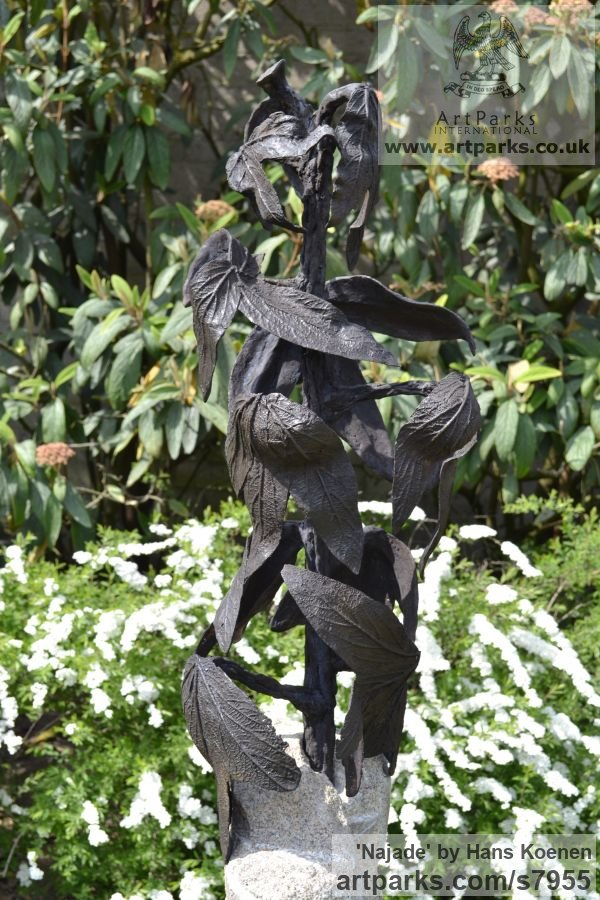 Bronze on granite Water Features, Fountains and Cascades sculpture by sculptor Hans Koenen titled: 'Najade (Bronze female Goddess Changing into a Plant statuary)' - Artwork View 2