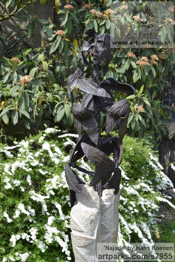 Bronze on granite Water Features, Fountains and Cascades sculpture by sculptor Hans Koenen titled: 'Najade (Bronze female Goddess Changing into a Plant statuary)' - Artwork View 4