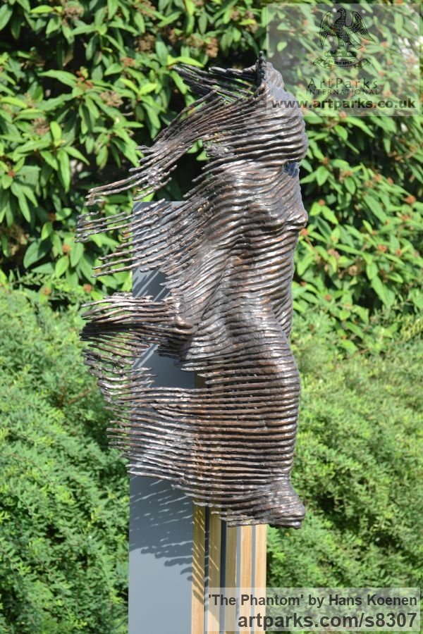 Bronze on wood Clothes Dresses Gowns Shirts etc sculpture sculpture by sculptor Hans Koenen titled: 'The Phantom (bronze female in WornRagged clothing garden statue)' - Artwork View 4