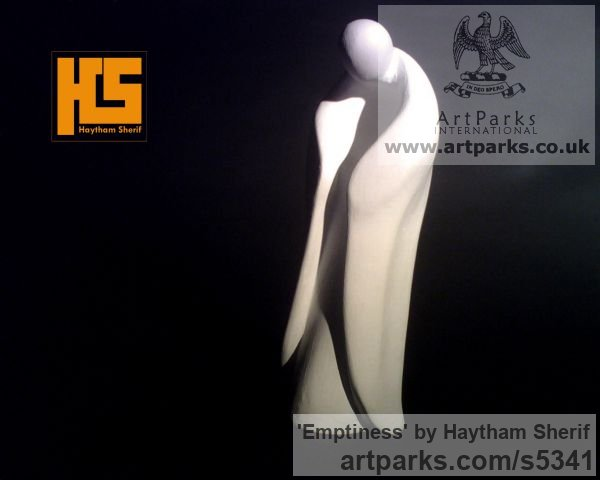 Plaster Contemplative, Restful, Thougtful sculpture by sculptor Haytham Sherif titled: 'Emptiness (plaster human abstract sculptures)'