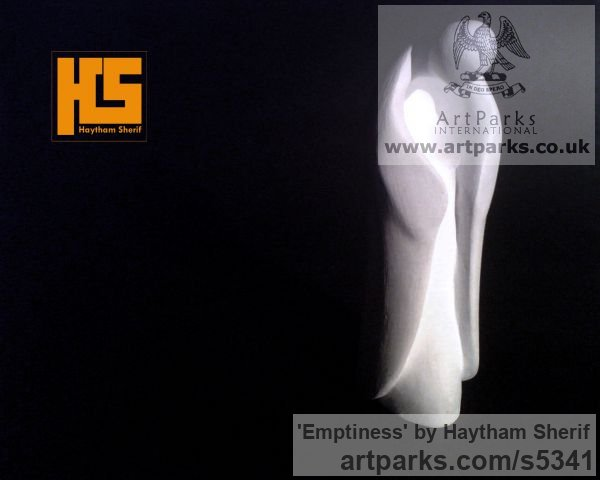 Plaster Contemplative, Restful, Thougtful sculpture by sculptor Haytham Sherif titled: 'Emptiness (plaster human abstract sculptures)' - Artwork View 3