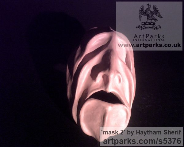 Terracotta Abstract Contemporary Modern Outdoor Outside Garden / Yard sculpture statuary sculpture by sculptor Haytham Sherif titled: 'mask2' - Artwork View 2