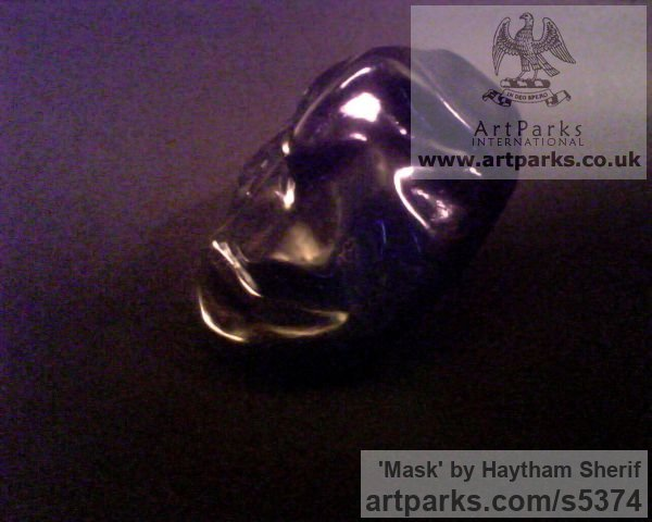 Plaster Male Men Youths Masculine sculpturettes figurines sculpture by sculptor Haytham Sherif titled: 'Mask (Plaster abstract figurative Face sculptures)' - Artwork View 2