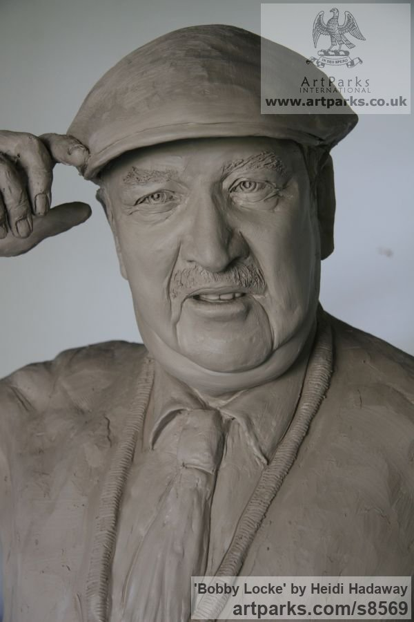 Male Men Youths Masculine sculpturettes figurines sculpture by sculptor Heidi Hadaway titled: 'Bobby Locke (Famous Golfer Portrait Commemorative statue)' - Artwork View 2