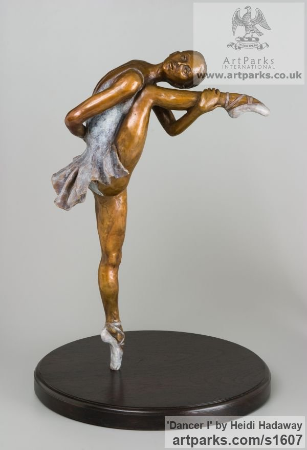 Bronze Females Women Girls Ladies sculpture statuettes figurines sculpture by sculptor Heidi Hadaway titled: 'Dancer I (bronze Ballet Dancing Girl smaller than life size sculpture)'