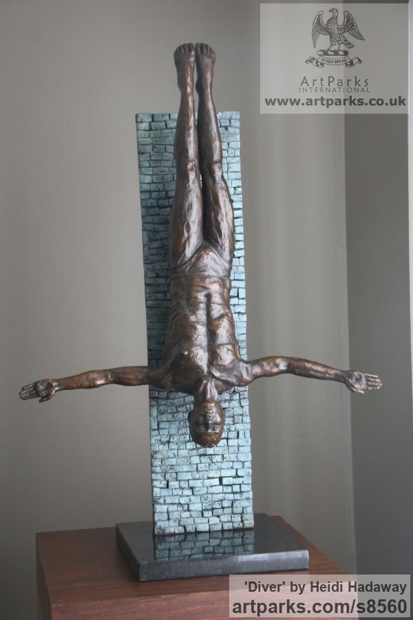 Bronze Wall Mounted or Wall Hanging sculpture by sculptor Heidi Hadaway titled: 'Diver (Small Bronze Man Diving statuette sculpture)' - Artwork View 2