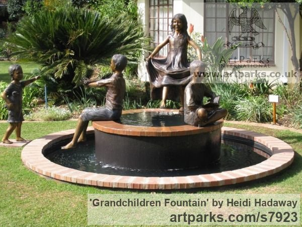 Portrait Sculptures / Commission or Bespoke or Customised sculpture by sculptor Heidi Hadaway titled: 'Grandchildren Fountain (Family Portrait Commission statues)'