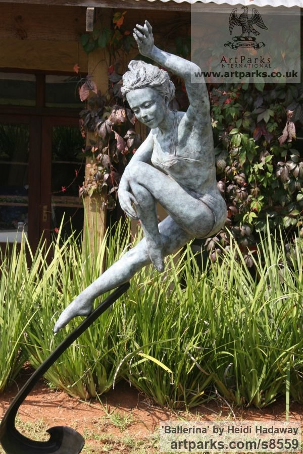Bronze Garden Or Yard / Outside and Outdoor sculpture by sculptor Heidi Hadaway titled: 'Leaping Girl (Dancing Ballerina bronze statue)' - Artwork View 2