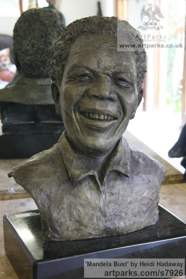 Bronze Portrait Sculptures / Commission or Bespoke or Customised sculpture by sculptor Heidi Hadaway titled: 'Mandela Bust (Portrait Head Commission sculpture)'
