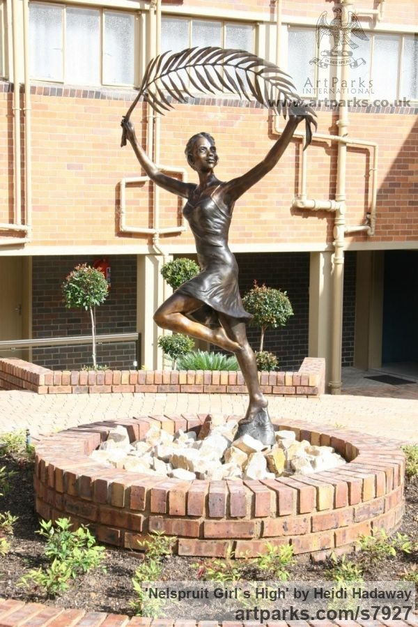 Females Women Girls Ladies sculpture statuettes figurines sculpture by sculptor Heidi Hadaway titled: 'Nelspruit Girl`s High (Commission Portrait Commemorative Bronze)'