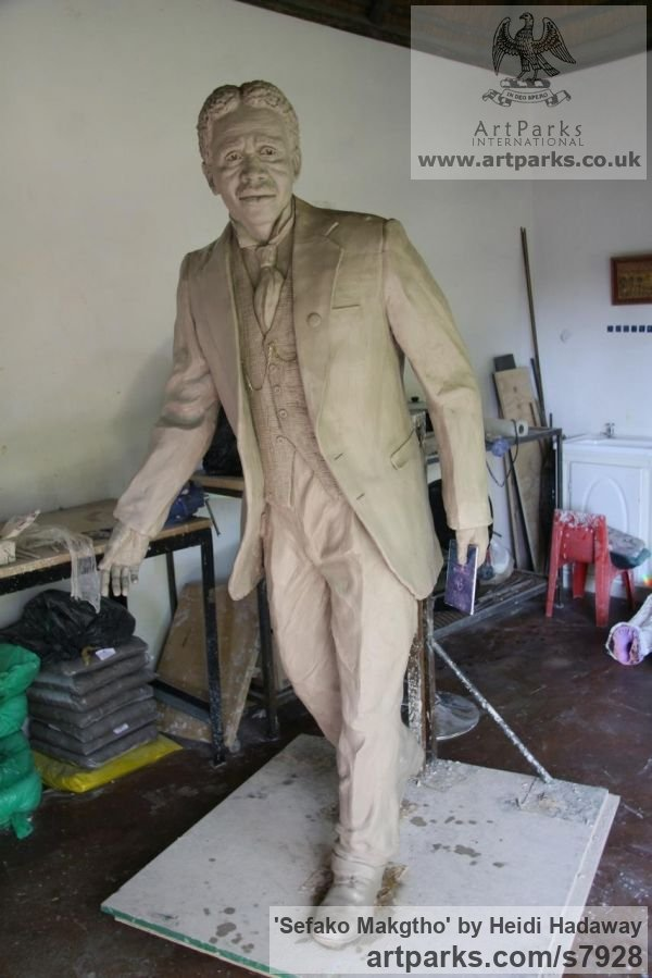 Portrait Sculptures / Commission or Bespoke or Customised sculpture by sculptor Heidi Hadaway titled: 'Sefako Makgtho (Portrait Commission Bespoke sculpture)'