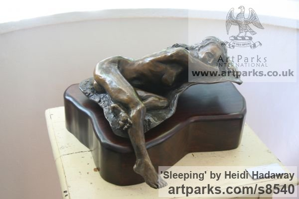 Bronze Sensuous Sexy Erotic (Nude Naked Girls Females Women Ladies) sculpture by sculptor Heidi Hadaway titled: 'Sleeping (Little nude Naked Lovely Girl Relaxed statue)'
