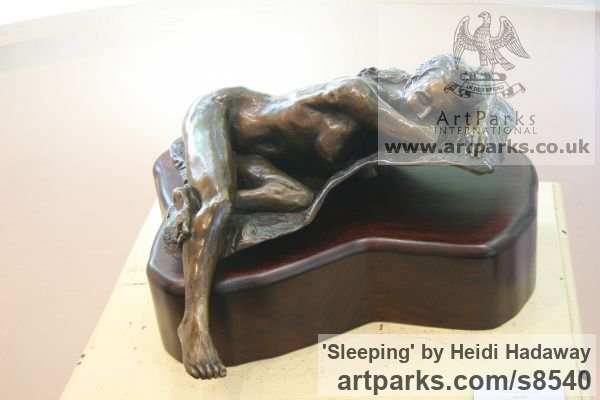 Bronze Sensuous Sexy Erotic (Nude Naked Girls Females Women Ladies) sculpture by sculptor Heidi Hadaway titled: 'Sleeping (Little nude Naked Lovely Girl Relaxed statue)' - Artwork View 2