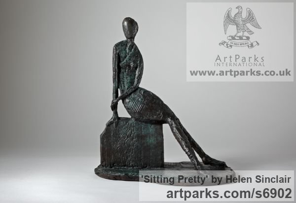 Bronze Females Women Girls Ladies sculpture statuettes figurines sculpture by sculptor Helen Sinclair titled: 'Sitting Pretty (Bronze Stylised semi abstract female statuette figurtn)'