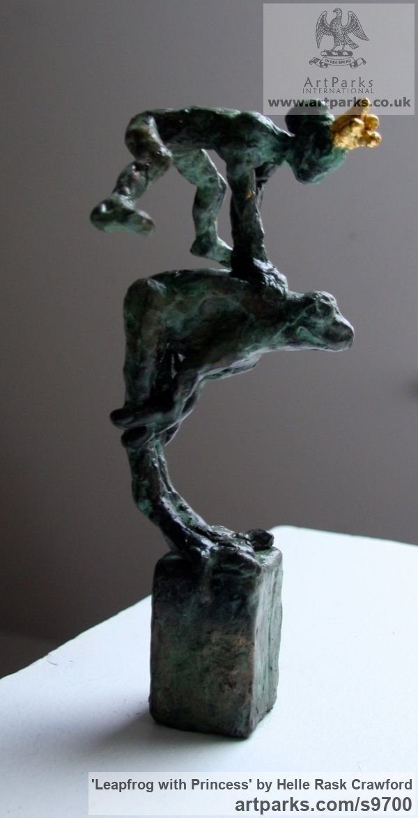 Bronze, gold Females Women Girls Ladies sculpture statuettes figurines sculpture by sculptor Helle Rask Crawford titled: 'Leapfrog with Princess'