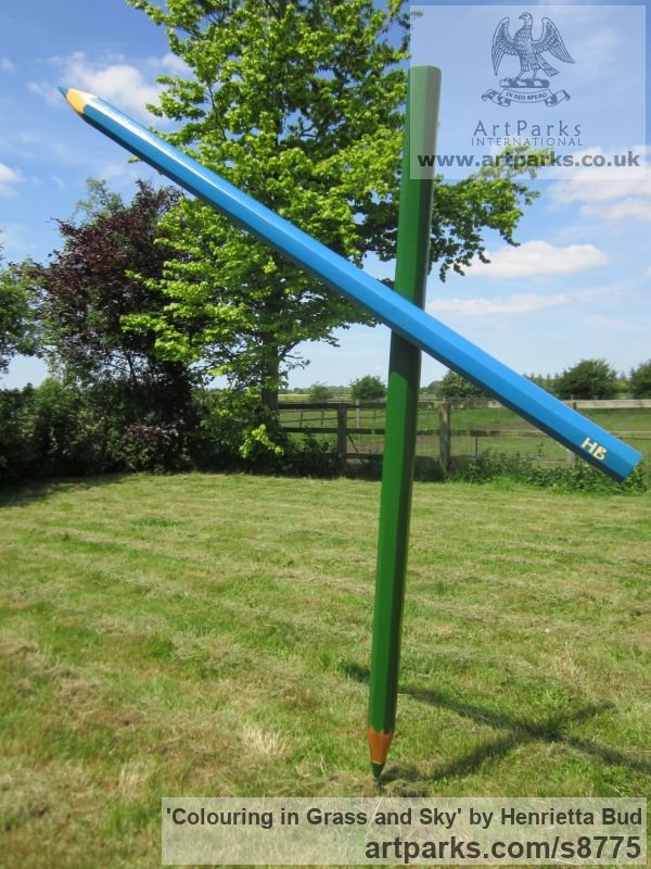 Wood and steel Garden Or Yard / Outside and Outdoor sculpture by sculptor Henrietta Bud titled: 'Colouring in Grass and Sky (Large version - Fun Lawn crayon statue)' - Artwork View 1