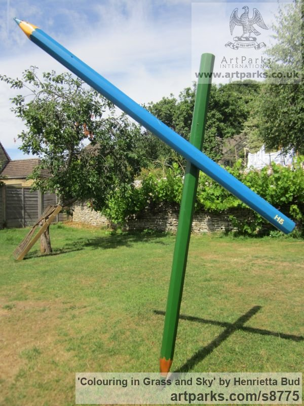 Wood and steel Garden Or Yard / Outside and Outdoor sculpture by sculptor Henrietta Bud titled: 'Colouring in Grass and Sky (Large version - Fun Lawn crayon statue)' - Artwork View 2