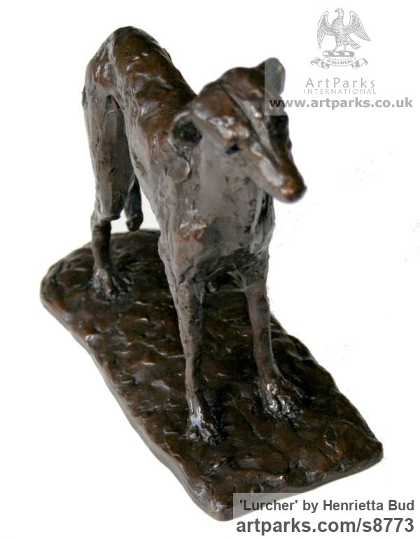 Cold Cast Bronze resin Dogs sculpture by sculptor Henrietta Bud titled: 'Lurcher (Little Standing Indoor Inside Shelf statue)' - Artwork View 3