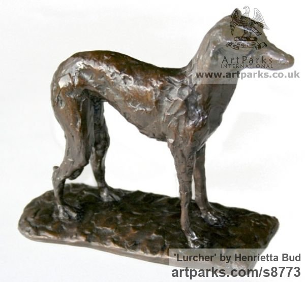Cold Cast Bronze resin Dogs sculpture by sculptor Henrietta Bud titled: 'Lurcher (Little Standing Indoor Inside Shelf statue)' - Artwork View 4