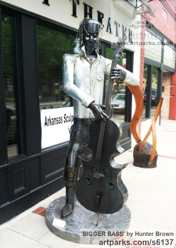Steel Abstract Contemporary Modern Outdoor Outside Garden / Yard sculpture statuary sculpture by sculptor Hunter Brown titled: 'BIGGER BASS (Stylised Bass Lifesize Player sculptures)'