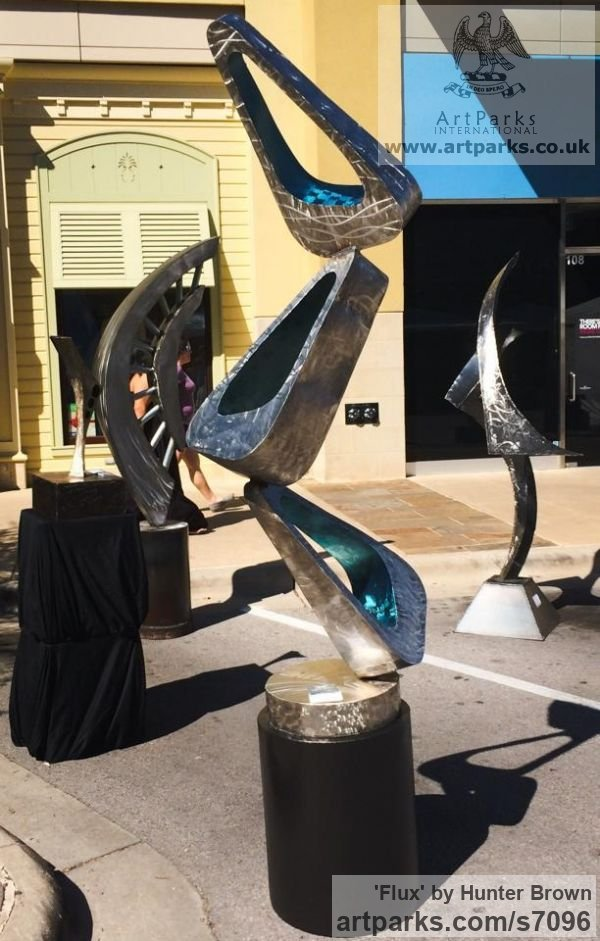 Stainless steel Abstract Contemporary Modern Outdoor Outside Garden / Yard sculpture statuary sculpture by sculptor Hunter Brown titled: 'Flux'