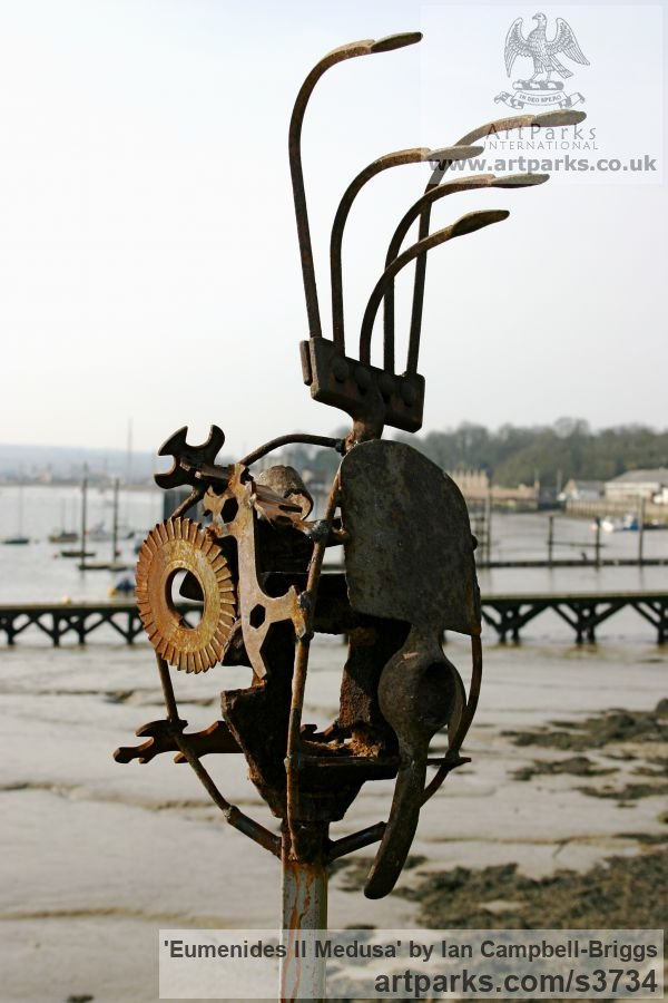 Welded Steel & Wood Abstract Contemporary Modern Outdoor Outside Garden / Yard sculpture statuary sculpture by sculptor Ian Campbell-Briggs titled: 'Eumenides II Medusa (Scrap Metal sculptures)'