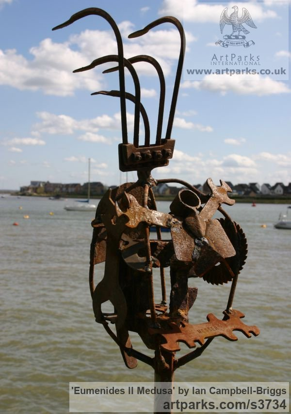Welded Steel & Wood Abstract Contemporary Modern Outdoor Outside Garden / Yard sculpture statuary sculpture by sculptor Ian Campbell-Briggs titled: 'Eumenides II Medusa (Scrap Metal sculptures)' - Artwork View 3