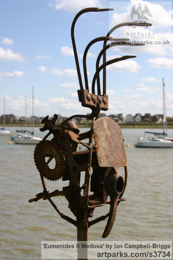 Welded Steel & Wood Abstract Contemporary Modern Outdoor Outside Garden / Yard sculpture statuary sculpture by sculptor Ian Campbell-Briggs titled: 'Eumenides II Medusa (Scrap Metal sculptures)' - Artwork View 4