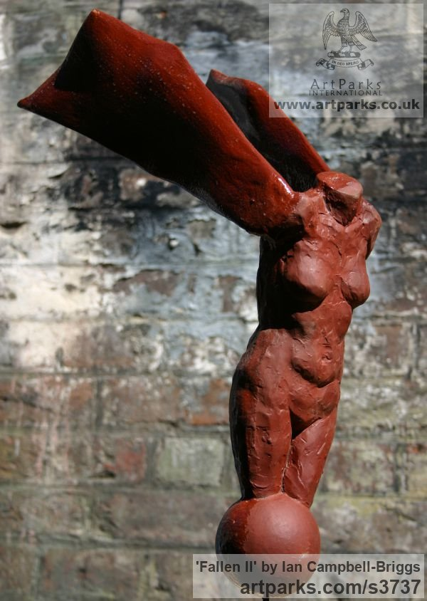 Bloodstone Resin & Wood Painted Coloured Tinted Patinated Enamelled sculpture statuettes sculpture by sculptor Ian Campbell-Briggs titled: 'Fallen II (stone resin Faqllen Angel sculpture)' - Artwork View 2