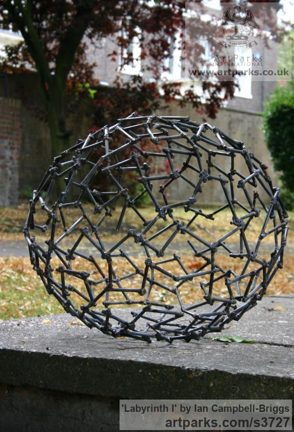 Welded Steel Repetitive Form / Shape Abstract Sculptures / sculpture by sculptor Ian Campbell-Briggs titled: 'Labyrinth I (Oval Metal abstract Outdoor statue)'
