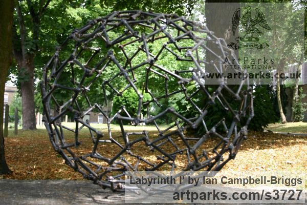 Welded Steel Repetitive Form / Shape Abstract Sculptures / sculpture by sculptor Ian Campbell-Briggs titled: 'Labyrinth I (Oval Metal abstract Outdoor statue)' - Artwork View 2