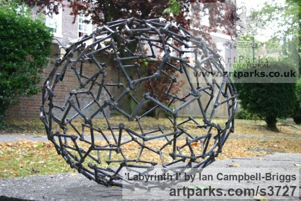 Welded Steel Repetitive Form / Shape Abstract Sculptures / sculpture by sculptor Ian Campbell-Briggs titled: 'Labyrinth I (Oval Metal abstract Outdoor statue)' - Artwork View 3