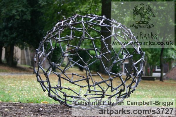 Welded Steel Repetitive Form / Shape Abstract Sculptures / sculpture by sculptor Ian Campbell-Briggs titled: 'Labyrinth I (Oval Metal abstract Outdoor statue)' - Artwork View 4
