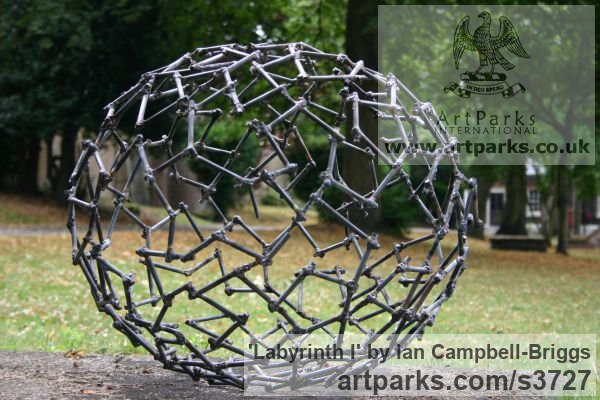 Welded Steel Repetitive Form / Shape Abstract Sculptures / sculpture by sculptor Ian Campbell-Briggs titled: 'Labyrinth I (Oval Metal abstract Outdoor statue)' - Artwork View 5
