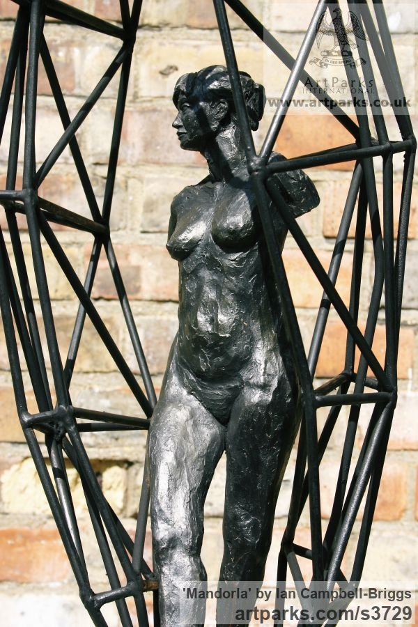 Terracotta, Iron Resin & Welded Steel Females Women Girls Ladies sculpture statuettes figurines sculpture by sculptor Ian Campbell-Briggs titled: 'Mandorla (Small nude and Ball sculptures)' - Artwork View 4
