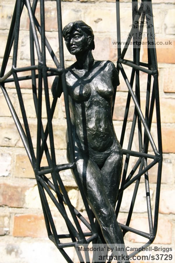 Terracotta, Iron Resin & Welded Steel Females Women Girls Ladies sculpture statuettes figurines sculpture by sculptor Ian Campbell-Briggs titled: 'Mandorla (Small nude and Ball sculptures)' - Artwork View 5