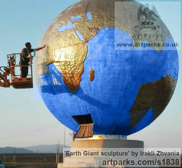 --------- Garden Or Yard / Outside and Outdoor sculpture by sculptor Irakli Zhvania titled: 'Planet Earth giant sculpture' - Artwork View 5