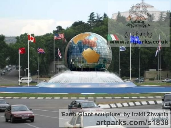--------- Garden Or Yard / Outside and Outdoor sculpture by sculptor Irakli Zhvania titled: 'Planet Earth giant sculpture' - Artwork View 4