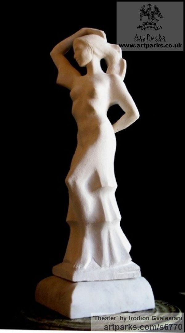 Gypsum Little Small Nude or Naked Girls Women Ladies Females sculpture statuettes Figurines sculpture by sculptor Irodion Gvelesiani titled: 'Theater (Small Semi nude Spanish Dancer statues)'