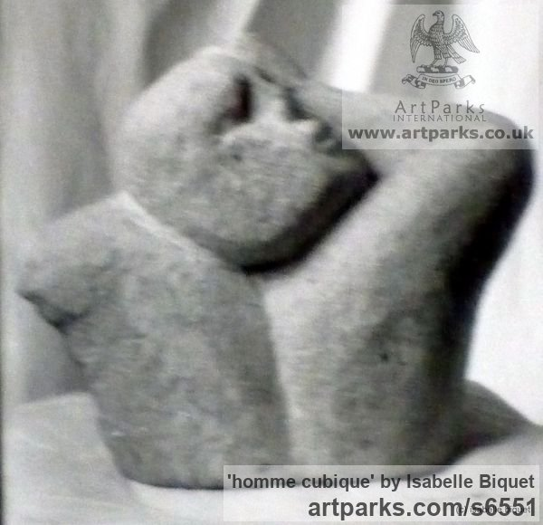 Pierre de Gobertange (Belgique) Carved Stone, Marble, Alabaster, Soap Stone Granite Lime stone sculpture by sculptor Isabelle Biquet titled: 'homme cubique'