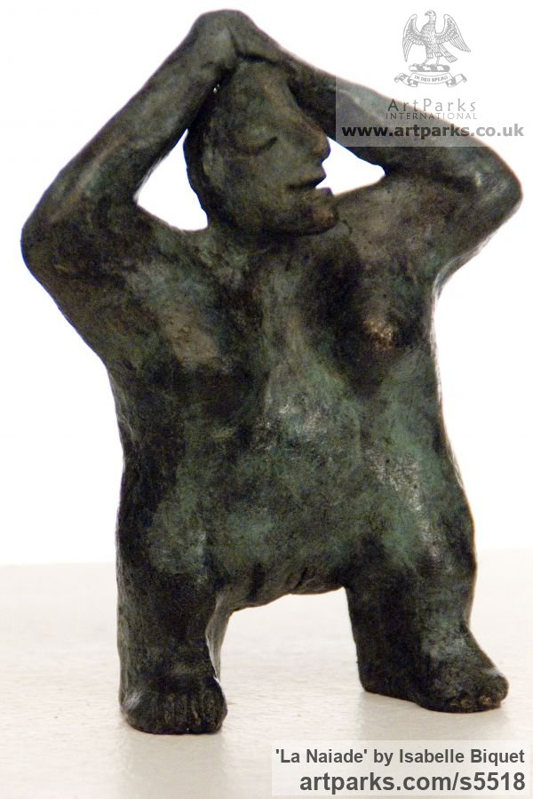 Bronze Females Women Girls Ladies sculpture statuettes figurines sculpture by sculptor Isabelle Biquet titled: 'La Naiade (Bronze abstract nude Woman stylised contemporary sculptures)'