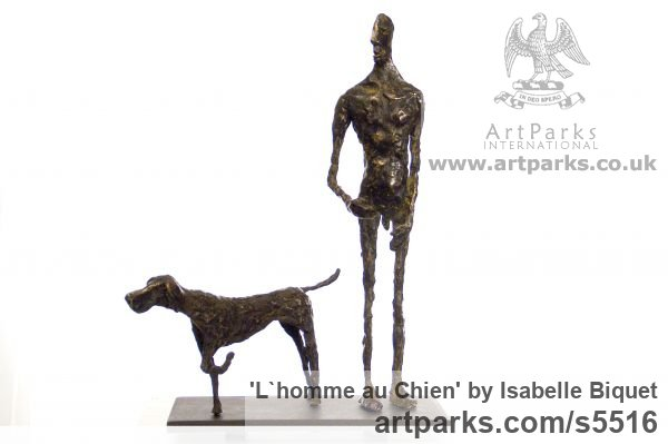 Bronze, socle en acier Dogs sculpture by sculptor Isabelle Biquet titled: 'Lhomme au Chien (nude Man and Friend Dog statues)'