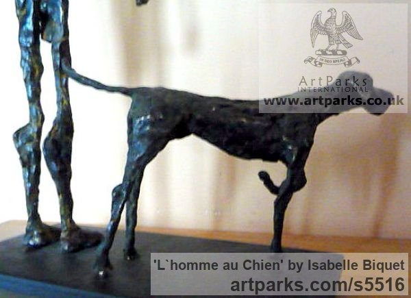 Bronze, socle en acier Dogs sculpture by sculptor Isabelle Biquet titled: 'Lhomme au Chien (nude Man and Friend Dog statues)' - Artwork View 2